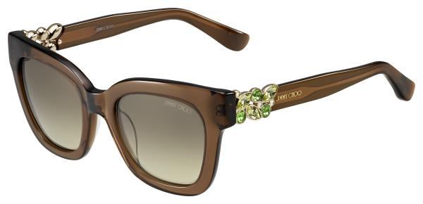 JIMMY CHOO EYEWEAR Authorised Store In Ahmedabad  C   O Charun Optic For Orders Call/Whatsapp +919898335547  Brown Acetate Rectangular Sunglasses with Jewelled Detail  Soft rectangular shaped sunglasses embellished by the temples with a sma - by Charun Optic, Ahmedabad
