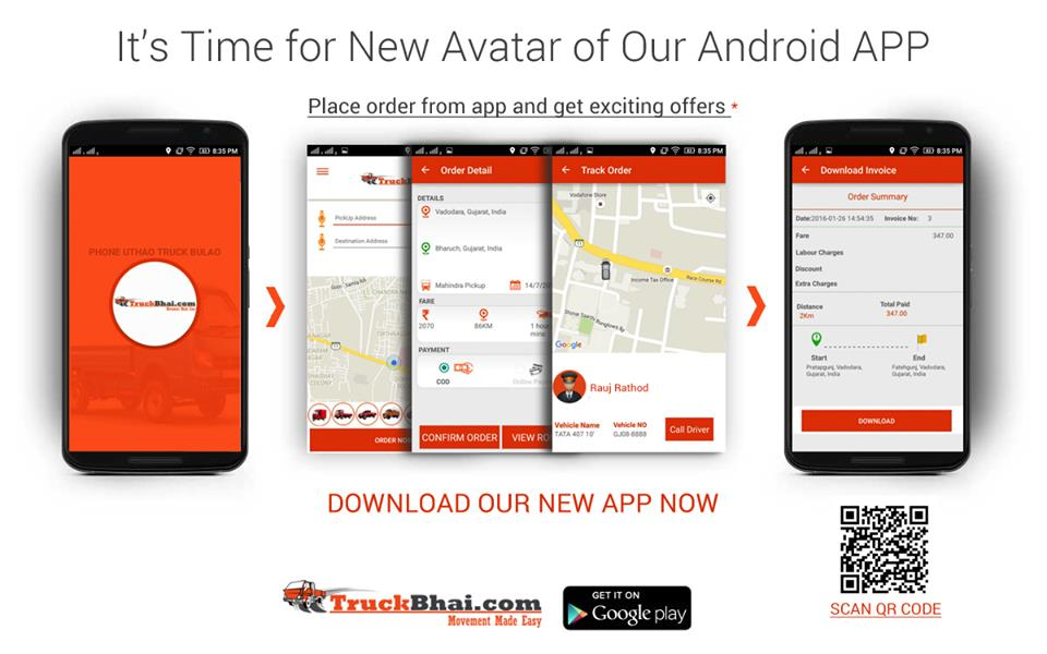 Now Book Mini Truck on the Go   Download our new Andriod from Google Play Store  or visit our website www.truckbhai.com    We provide mini trucks in Vadodara, Ahmedabad, Gujarat.   We also have other range of vehicles available for line hau - by Truckbhai.com, Ahmedabad