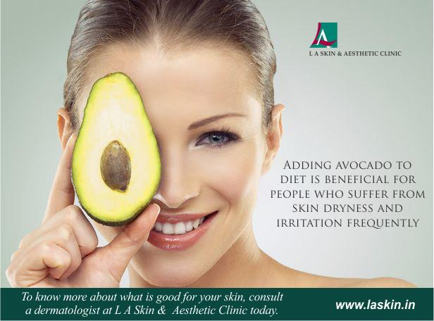 Adding avocado to diet is beneficial for people who suffer from skin dryness and irritation frequently.  To know more about what is good for your skin, consult a dermatologist at L A Skin and Aesthetic Clinic today. ‪#‎LAskin‬ ‪#‎la‬ ‪#‎las - by L A Skin & Aesthetic Clinic, New Delhi