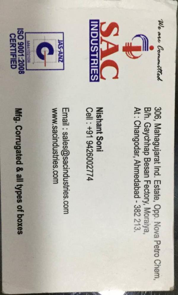 We are leading manufacturers of corrugated box in changoder Ahmedabad Gujarat India since 2002. - by Sac Industries, Ahmedabad
