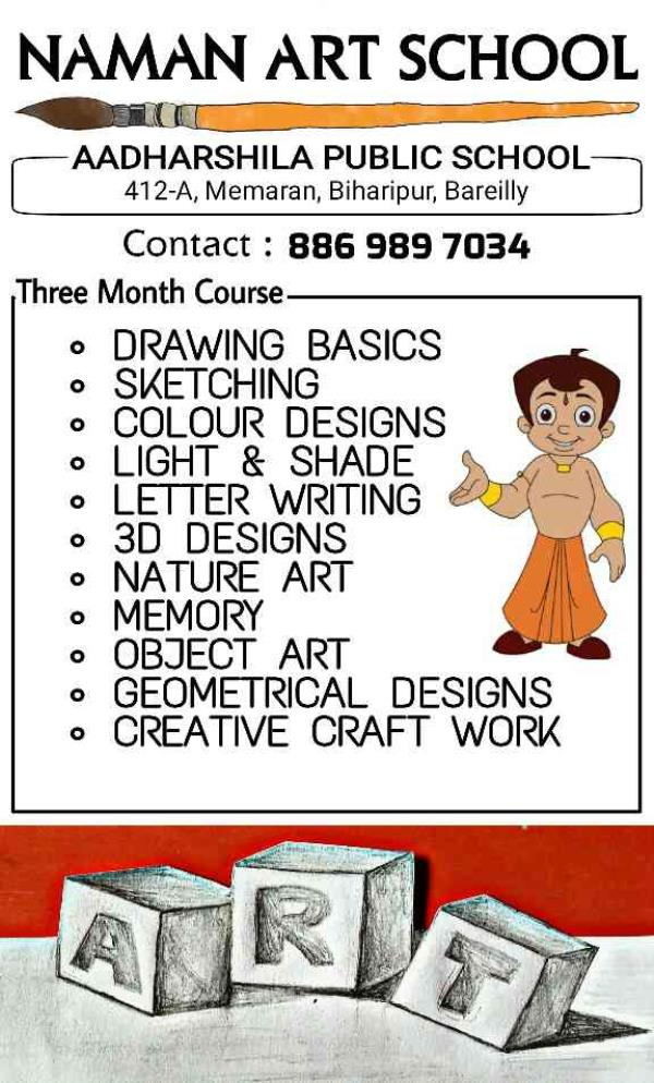 syllabus for 3months in Naman Art School best art school in bareilly 3D art school in bareilly best place for creative child - by namz.style photography, Bareilly