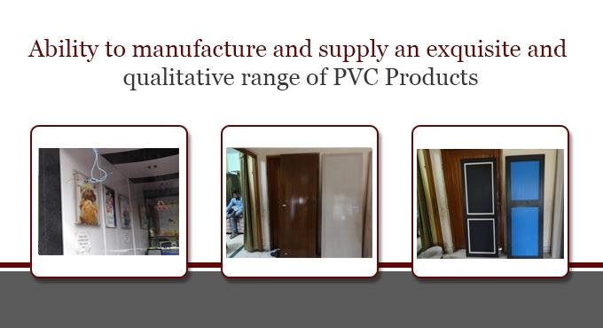 Contact for manufacturing all types of PVC doors . We give lifetime guarantee for our products, also provide color paint , polished products completely. Rate : 135 Rs per sq.ft.(hardware and freight extra) Note- Government specified product - by Aush Doors, Jaipur