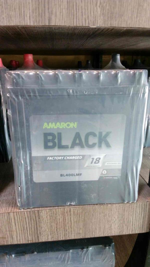 "Black type in Amaron battery is coming with 18 month warranty.Battery shown here is Black 400LMF rating 12 volt 35 ah. The applications of Black 400LMF is for Maruti cars like Alto, Wagon R , Zen estilo, , Ertiga petrol, Chevrolet Spark Lan - by JAY MATAJI ENTERPRISE"" AMARON FRANCHISEE"", Ahmedabad"