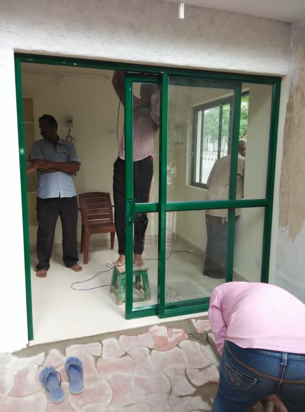 The best quality Green Color Aluminum Office Partition works in Jublee Hills. The service available at Ameerpet, hyderabad. We are also provide all types of aluminum office cabins, aluminum office partitions & aluminum partitions for office - by Sk Interior works, Hyderabad