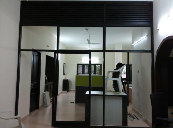 The best quality Black Color Aluminum Office Partition with fixed lover on top works in Panjagutta. The service available at Ameerpet, hyderabad. We are also provide all types of aluminum office cabins, aluminum office partitions & aluminum - by Sk Interior works, Hyderabad