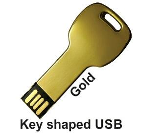 Gold finish USB PenDrives. In Mumbai every one is fond of premium finish PenDrives. key shape USB drive is one of the same. You can engrave your company's logo as well on This Pendrive.  - by Jainex USB And Pendrives Wholesalers / Manufacturers Mumbai, Mumbai