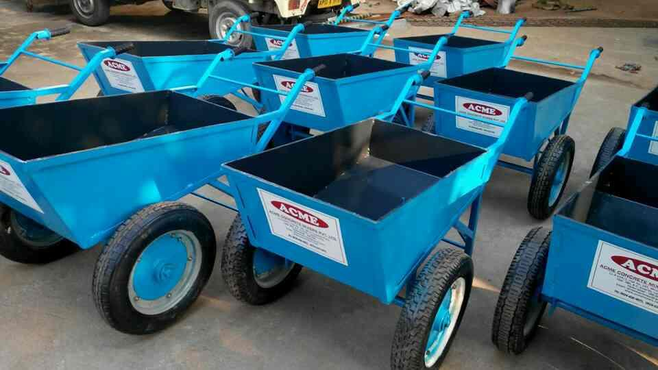 WHEEL BARROWS - Fitted with 2 Nos Scooter Wheels especially designed Wheel Hub, Heavy Duty CST Iron with Bearing for Heavy Concrete Load instead of Ordinary. - by Acme Concrete Mixers Pvt Ltd, Hyderabad