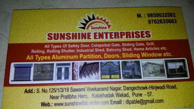 fabrication work done in wakad - by Sunshine Enterprises , Pune