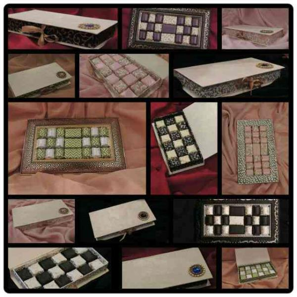 Our beautiful collection of chocolate boxes: The majestic green, The chess box, The Royal, The Pink Beauty - by Sweet Indulgence, Mumbai