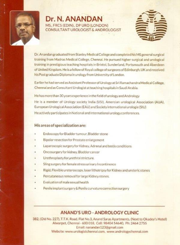 Anand's Uro-Andrology Clinc's - by Dr N Anandan, Chennai
