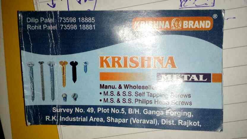 screw and fastener in rajkot - by Krishna Metal, Rajkot