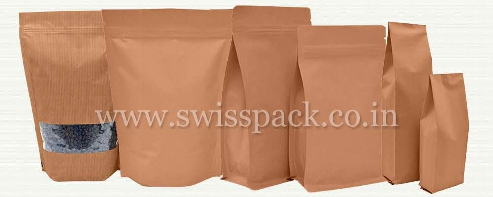 PAPER BAGS  Paper bags are one of the most natural looking forms of packaging and are used to package various products. Swiss Pac produces paper bags in various styles and sizes. Our brown Kraft paper bags give your products a more natural  - by Swiss Pack Pvt Ltd, Vadodara