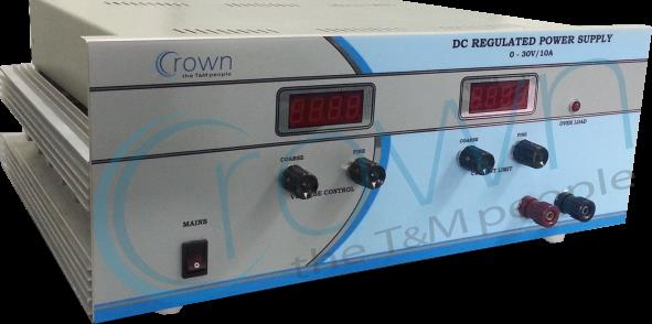 DC Power supply manufacturer  Crown DC regulated Power Supply are constant voltage constant current type power supply . our range  0-30V/1A   0-30V/2A  0-30V/5A 0-30V/10A 0-30V/20A 0-30V/30A  all the power supplies are protected against sho - by Crown Electronic Systems, New Delhi