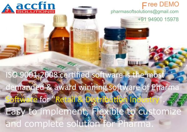 """Pharma Software An ISO 9001:2008 certified software is the most demanded & award winning Pharma Software for """"Retail & Distribution Industry"""". PHARMA Software for distribution AND Pharmaceutical Manufacturing Software or Supply Chain is des - by Accfin Solutions, hyderabad"""