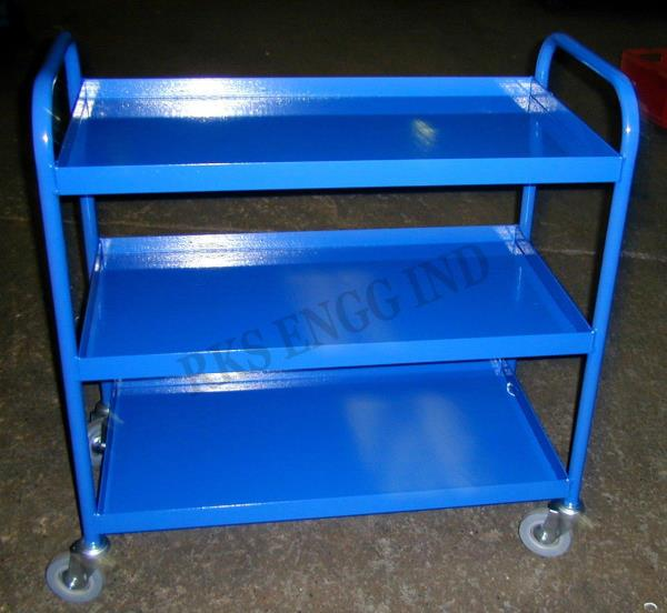"""Tool Tray Trolley    Aluminium made of HE 30 grade T6 temper HINDALCO make.    Description:  It is made out of MS -""""L"""" Angle support (50 x 50 x 3mm thick) and trays are covered with 16 gauge MS sheet. Provide 6"""" x 2"""" / 8"""" x 2"""" swivel and fi - by SEKAR ENGINEERING WORKS 9791034320, Chennai"""