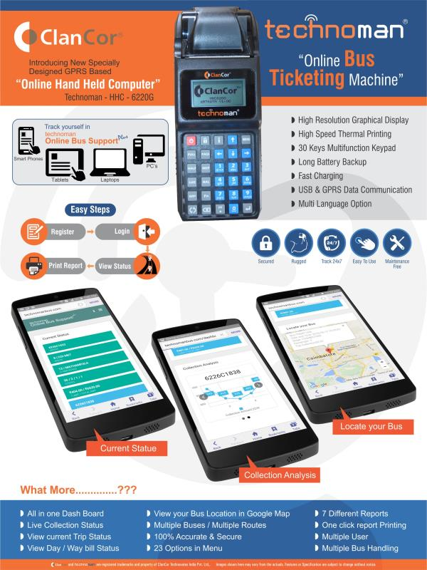 Online Bus Ticketing    High Resolution Graphical Display for online bus ticketing  High Speed Thermal Printing for online bus ticketing  30 Keys Multifunction Keypad for online bus ticketing  Long Battery Backup for online bus ticketing  F - by Technoman, coimbatore