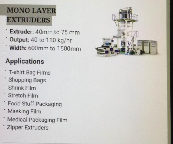 Mono layer extruder machine   We have best quality product in mono layer extruder plant in Ahmedabad  - by Vishwa Exim Pvt Ltd, Ahmedabad