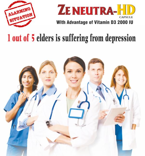 1 out of 5 elders is suffering from depression Lowe Level of Vitamin D3 leads to depression in elders - by ZENEUTRA Capsule for Vitamin D3, Ahmedabad
