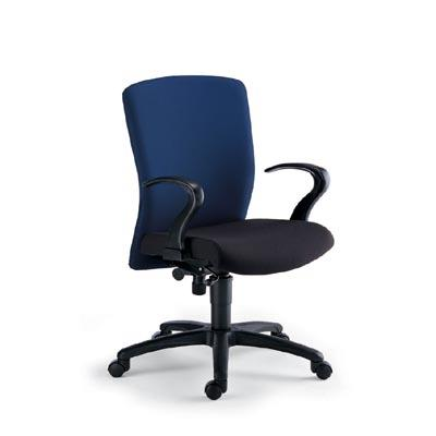 Workstation Chair. Model:AS-220: Medium back revolving chair with sycnhro mechanism, cushioned seat and back with 50 mm density molded foam for seat and back, imported synchro mechanism for smooth tilt, class three gas lift for height adjus - by ACCURATE SEATING SYSTEMS, Bangalore