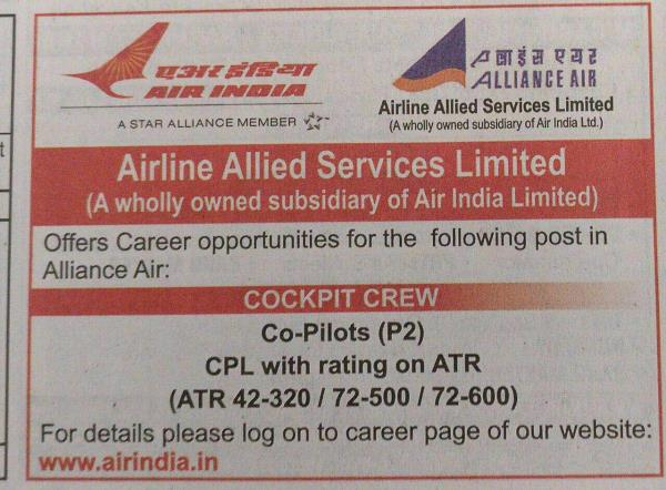 Airline Pilot Jobs in India  Air India has announced vacancy of First Officer on ATR for for Indian citizens holding DGCA Commercial Pilot License (CPL).   For more details  www.stareducare.com - by Star Educare - Flight Training Academy, New Delhi