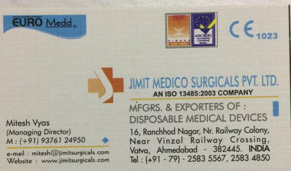 Best quality disposable medical device manufacturers and exporters in India - by JIMIT MEDICO SURGICALS PVT LTD, Ahmedabad
