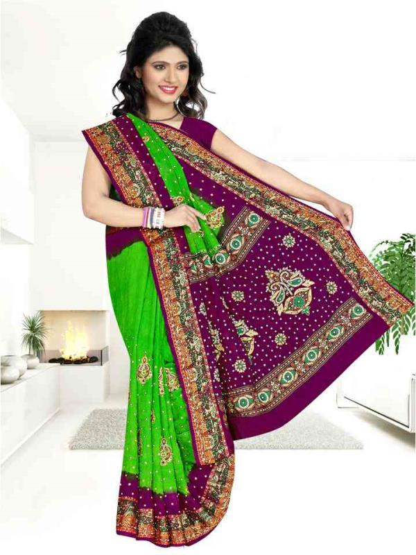 Jackard butta saree - by Sagar Handicraft, Rajkot