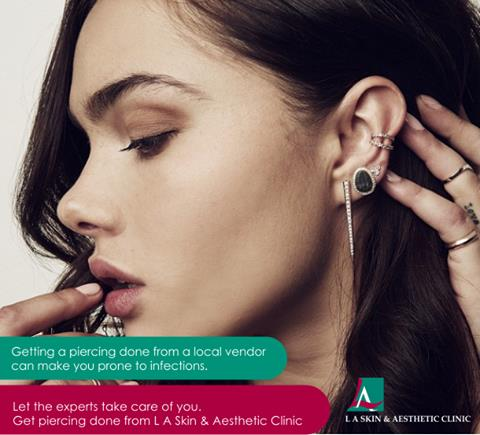 Getting a piercing done from a local vendor can make you prone to infections. Let the experts take care of you. Get piercing done from L A Skin & Aesthetic Clinic. #laskin #la #laskinandaesthetic #laclinic #ladermatology #d - by L A Skin & Aesthetic Clinic, New Delhi