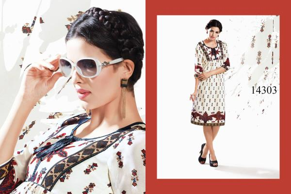 Here You Go This Sensational Printed Kurti Is Fits Appropriately To Your Work Wardrobe. Its Georgette Fabric Gives You The Wrinkle Free Day. Pair It With The Matching Bottom And Style It With Trendy Earrings To Create The Perfect Impression - by Viva n Diva , Surat