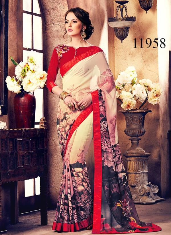 Join The Get Beautiful Parade With This Simplistic Yet Amazing Saree. This Saree Has A Charismatic Natural Appeal With Its Lovely Floral Printed Design.Get Your Hands On This Saree Now , Its Pretty , Comfortable And In A Perfect Price Range - by Viva n Diva , Surat