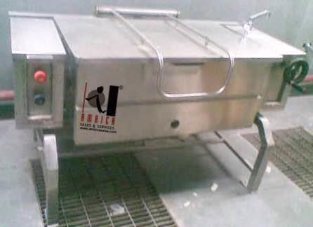 Tilting Brazing Pan Heavy Duty for Bulk Cooking, available in various capacities of 60, 90, 120 and 150 ltrs. Electric or Gas Operated. - by Ambica Sales & Services, Mumbai Suburban