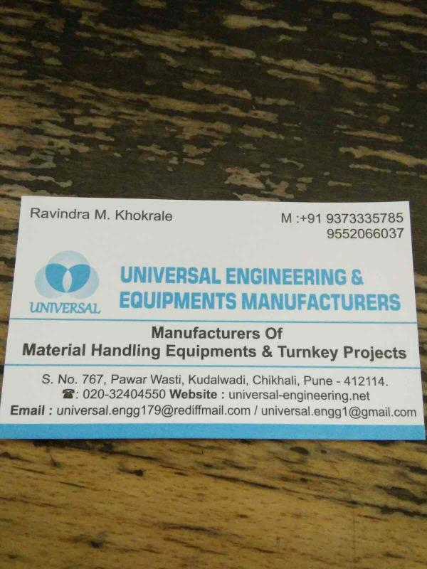 we are one of the leading manufacturer of material handling equipment in pune - by Universal Engineering & Equipment Manufacturers, Pune