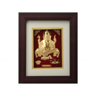 Ganesh Idol of Gold Foil with Frame. Exclusive corporate gift. We provide corporate gifts in silver and gold. A leading brand in India.  - by Precious Corporate Gifting, Gurgaon
