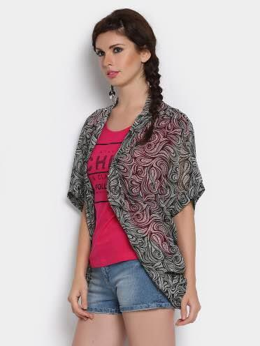 Women Black & white Paisley Print regular Fit Shrug - by Getoncity, New Delhi