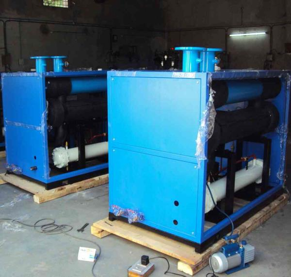 REFRIGETED AIR DRYER  Refrigerated Air Dryer (SHELL & TUBE TYPE)  Refrigerated Dryers works on Heat Transfer principle. Saturated compressed air enters the Pre-cooler / Re-heater (air to air heat-exchanger), where it is pre-cooled by exchan - by DOLPHIN ENTERPRISE, Vadodara