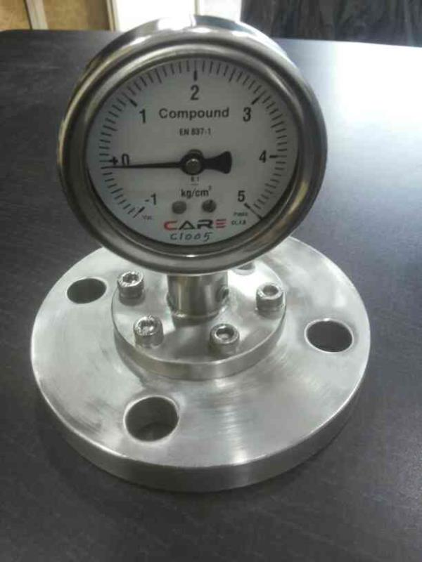 Diaphram seal Flanged Connection Pressure Gauge most suitable for aseptic/non product contact  Application - by Care Process Instrument, Ahmedabad