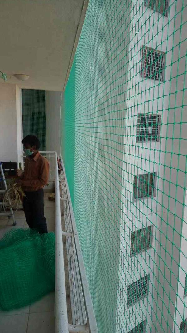 Balcony safety nets in safety from pogion and bird production net - by Lucky Safety Nets, Bengaluru