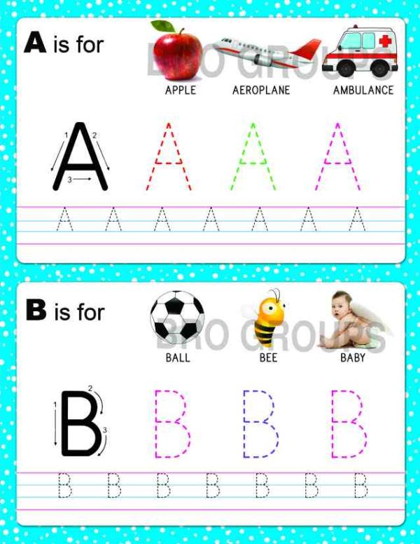 Letters Work Book is Loaded with Activities which will Help The Children Develop Writing Skills its Fun Convenient and Easy to Practice with The Wipe & Clean Pages - by Bright Books, Coimbatore