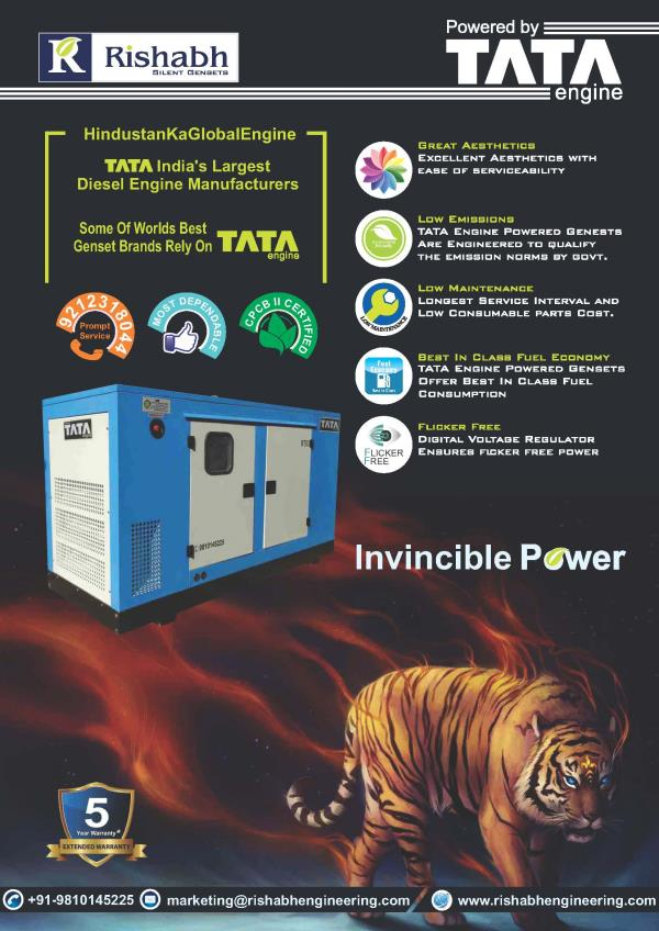 Diesel Generator Powered by TATA Engines   TATA's engines are used in various applications & one of the major applications is Diesel Generators. TATA has been giving supplying engines for Power Generation application to some of the world le - by Rishabh Engineering Co., Ghaziabad