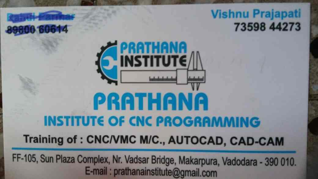 We are providing Cnc machine and Vmc machine operating and servicing training at lowest cost in the market along our institute's certificate. - by Prathana Institute Of Cnc Programming, Vadodara