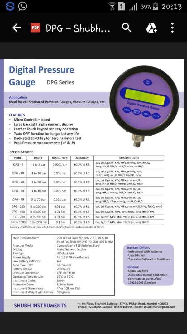 Digital Pressure gauges of accuracy 0.1% - by Shubh Instruments, Mumbai