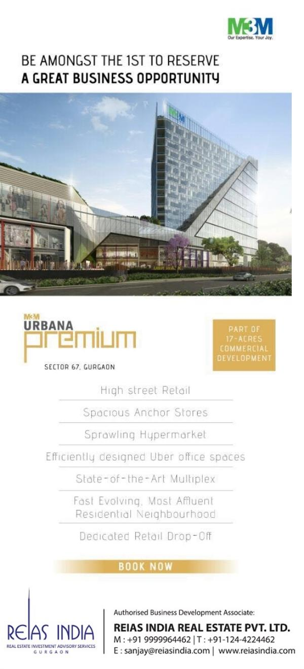 M3M Urbana Premium Luxury Commercial Launched by M3M at Sector 67 GUrgaon For More Detail Call - 09999964462  Or VISIT- http://www.reiasindia.com/properties/M3M-Urbana-Premium.html  - by Reias India Real Estate Pvt. Ltd., Gurgaon