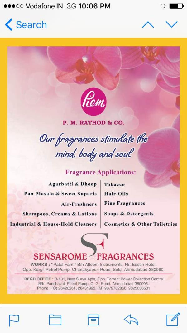Our Fragrances stimulate the mind, body & soul - by P M Rathod & Co, Ahmedabad