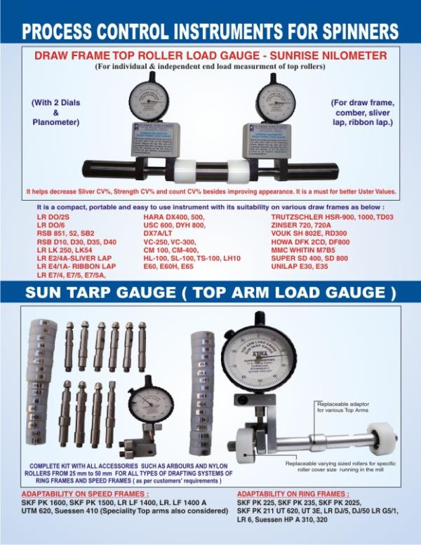 SUNRISE NILOMETER ( DRAW FRAME LOAD GAUGE ) IS A MUST FOR EVERY SPINNERS. IT IS USED FOR MEASURING TOP ROLLER END LOADS IN DRAW FRAME, COMBER, SLIVER LAP, RIBBON LAP, LAP FORMER, SUCH RIETER  RSB 851, RIETER RSB D30, D45, , LMW DO 2S, DO6,  - by MFG, HOMOGENIZER & TEXTILE INSTRUMENTS, Ahmedabad