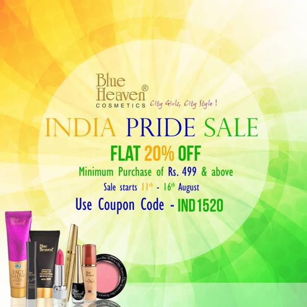 This week is all about Freedom & Enjoy! The biggest online sale is Here!! #Blueheaven INDIA PRIDE SALE! Shop For Your Favorite Products online @ www.blueheavencosmetics.in & Get FLAT 20% OFF from 11th to 16th Aug, Hurry! Enjoy Freedom of Best Offers. SHOP NOW 💄💅💋<3  Blue Heaven India Pride Sale