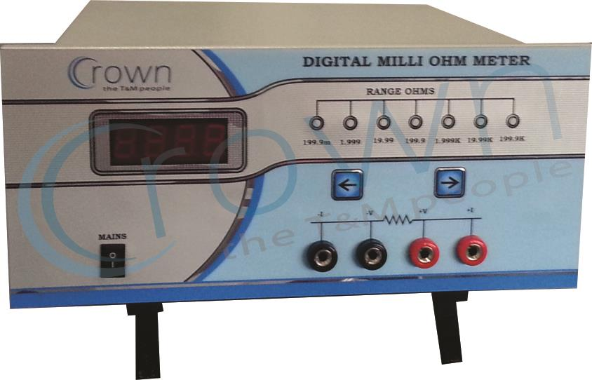 Digital Milli Ohm Meter  Crown Digital milli ohm meter is very usefull for resistance measurement. it is used in various industries like cable , transformer , copper etc. for more informationhttp://www.crowntnm.com/digital-milli-ohm-meter-6 - by Crown Electronic Systems, New Delhi