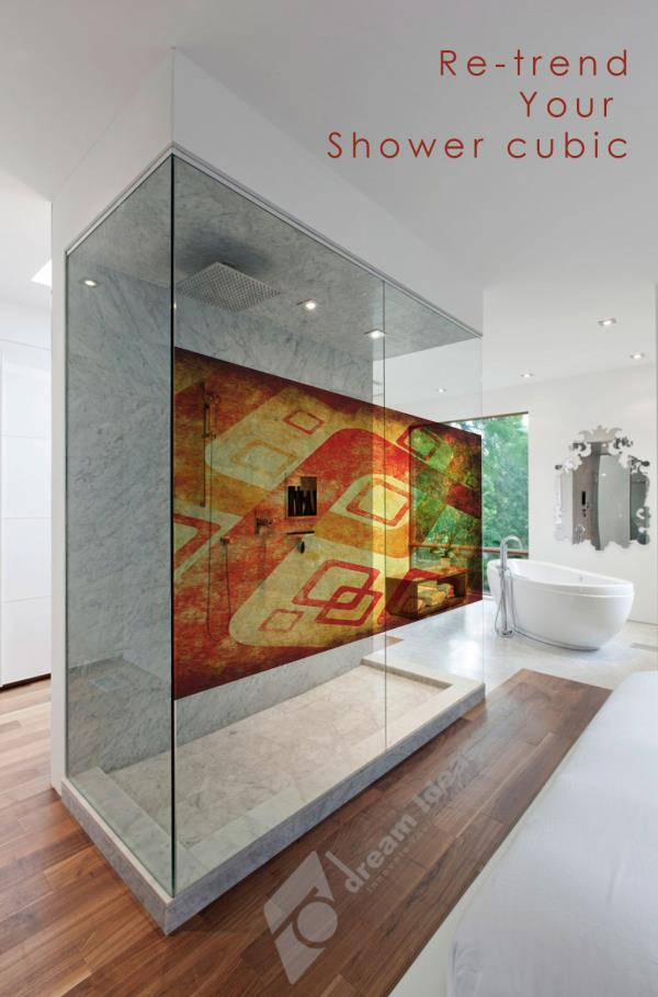 Digital graphics for Shower Cube glass surface to prop up your interiors, giving your space a unique trendy. Reach us for more ideas : info@dreamideas.in - by Dream Ideas, Bangalore