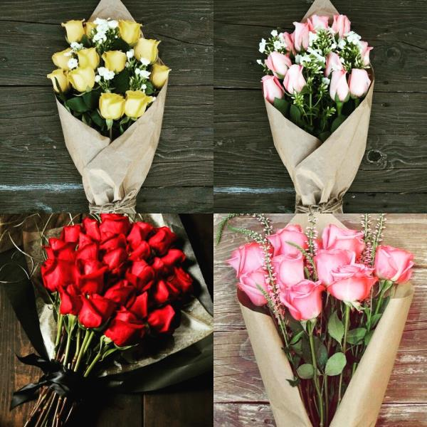 Buy colourful beautiful roses wrapped in tissue paper with fillers and ribbons flower bunch bouquet in Kanpur InspiredFloralCreations  - by Pankhuri Florist, Kanpur Nagar
