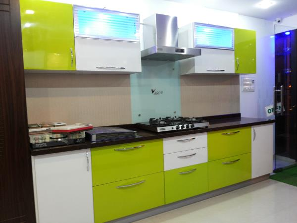 kitchen with our selection of kitchen cabinets from V Zone Interiors Banashankari 3rd stage. Get free kitchen design estimate by visiting showroom. - by Vzoneinteriors, Bangalore