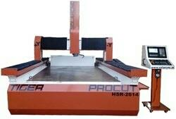 ProCut HSR 2614 CNC Router  CNC Router for Stone and Marble.  Model HSR 2614  Table Size : 2600 X 1400 mm  X : 2500 mm  Y : 1250 mm  Z : 400 mm  Spindle Nose to Table Top : 0-400 mm  Spindle Power : 5.5 KW  Spindle RPM : 10, 000 to 18, 000  Spindle Taper : As Per ER 25 Collet  Tool Size : Max 16 mm  Tool Change : Manual  Rapid Traverse : 12, 000 mm / min  Max.Cutting Feed : 10, 000 mm / min  Positional Accuracy : ± 0.01 mm over 300 mm stroke  Repeatability : ± 0.01 mm  Axis Motors : Servo on All Axes ( 4 Qty )  CNC Control : ADTECH-4640  Overall Dimension L x W x H : 3100x1850x1250 mm ( Approx )  Lubrication : Centralized Oil Lubrication with Automatic Pump  Coolant : Recirculation Type  Machine Weight (Approx in Kg) : 1340  Application ( attuned on Material) : Stone, Marble, Aluminum, Wood, MDF & Plastics  Optional Accessories:  Dust collecting Attachment  4th Axis ( Rotary Attachment with Servo Motor )  CNC Stone Router ProCut HSR 2614 manufacturer in vadodara Gujarat  CNC Stone Router ProCut HSR 2614 in surat Gujarat  CNC Stone Router ProCut HSR 2614 manufacturer in bharuch Gujarat