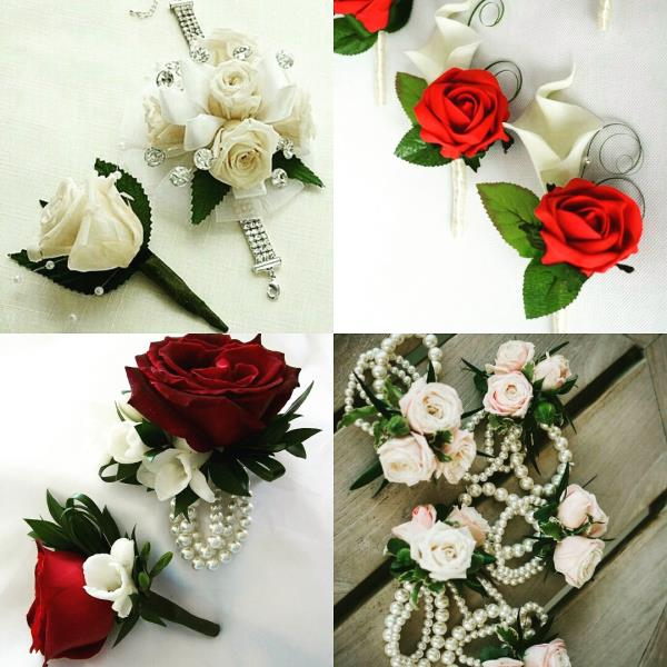 Boutonnieres and Wrist Corsages for the wedding family is the mark of a well planned  event. Get your pre-ordered for a classy design Inspired Floral Creations in Kanpur for weddin planning and flower jewelry  - by Pankhuri Florist, Kanpur Nagar